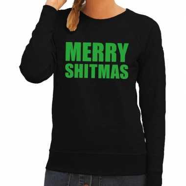 Foute kersttrui merry shitmas zwart voor dames