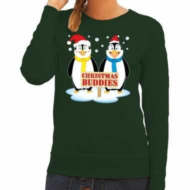 Foute kersttrui pinguin vriendjes groen dames