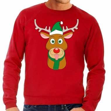 Foute kersttrui rendier rudolf met groene kerstmuts rood heren