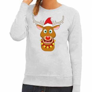 Foute kersttrui rendier rudolf met rode kerstmuts grijs dames
