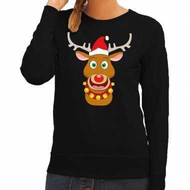 Foute kersttrui rendier rudolf met rode kerstmuts zwart dames