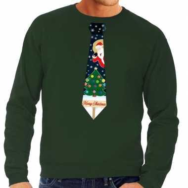 Foute kersttrui stropdas met kerst print groen voor heren
