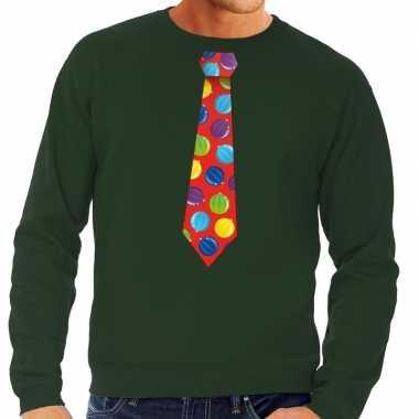 Foute kersttrui stropdas met kerstballen print groen voor heren