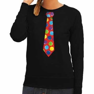 Foute kersttrui stropdas met kerstballen print zwart voor dames