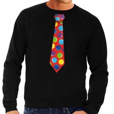 Foute kersttrui stropdas met kerstballen print zwart voor heren