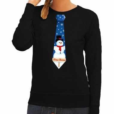 Foute kersttrui stropdas met sneeuwpop print zwart voor dames