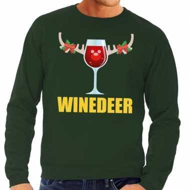 Foute kersttrui winedeer groen voor heren