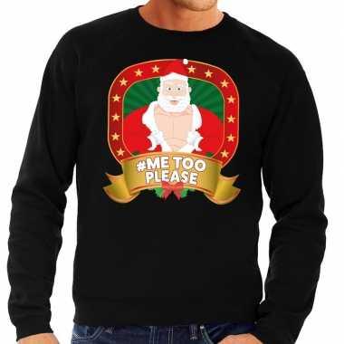 Foute kersttrui zwart hashtag me too please voor heren