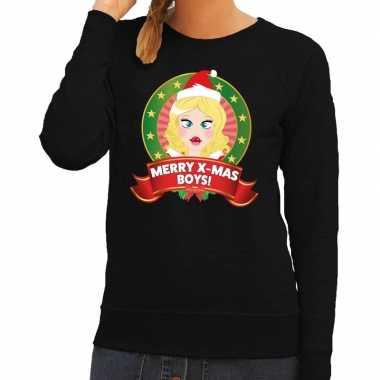 Foute kersttrui zwart merry x mas boys voor dames