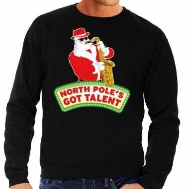 Foute kersttrui zwart north poles got talent voor heren