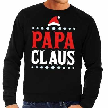 Foute kersttrui zwart papa claus voor heren