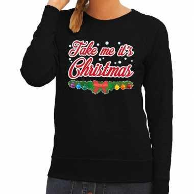 Foute kersttrui zwart take me its christmas voor dames