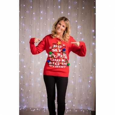 Kersttrui Fout.Grappige Rode Dames Kersttrui Met Verlichting Kerstkleding Eu