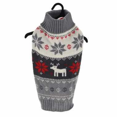 Grijze gebreide foute kersttrui met sneeuwvlokken en rendieren voor huisdieren