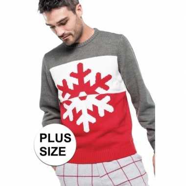 Foute Kersttrui Pinguin.Grote Maten Foute Kersttrui Grijs Rood Met Sneeuwvlok Voor Heren