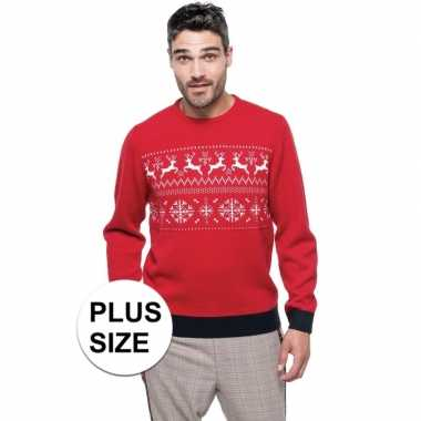 Grote maten foute kersttrui rood met noorse print voor heren