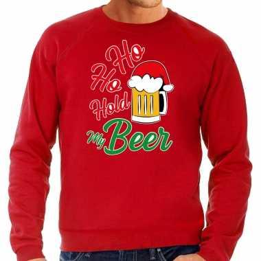 Grote maten ho ho hold my beer fout kersttrui / kerstkleding rood voor heren