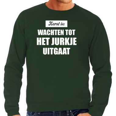 Grote maten kerst is: wachten tot het jurkje uitgaat kerst sweater / kerstkleding groen voor heren