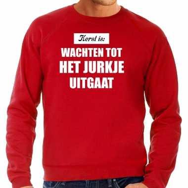 Grote maten kerst is: wachten tot het jurkje uitgaat kerst sweater / kerstkleding rood voor heren