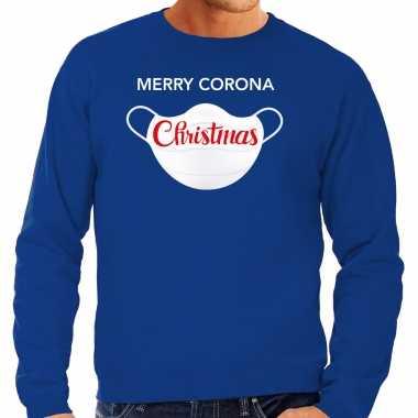 Grote maten merry corona christmas foute kersttrui / kerstkleding blauw voor heren
