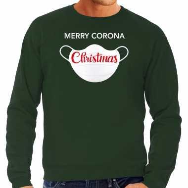 Grote maten merry corona christmas foute kersttrui / kerstkleding groen voor heren
