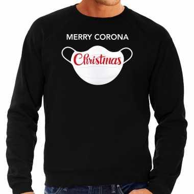 Grote maten merry corona christmas foute kersttrui / kerstkleding zwart voor heren
