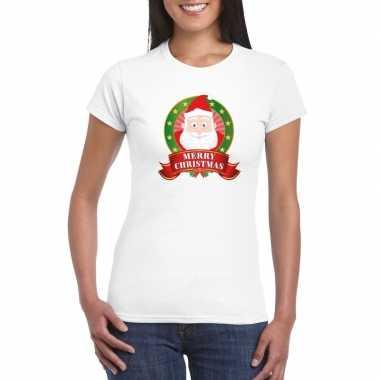 Kerst t shirt met kerstman wit merry christmas voor dames
