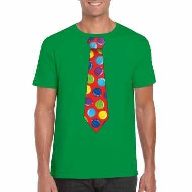 Kerst t shirt stropdas met kerstballen print groen voor heren