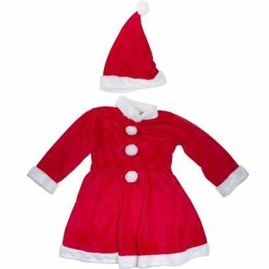 Kerstjurkje verkleed kerstkleding met muts voor meisjes