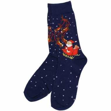 Kerstsokken blauw met rendieren dames en heren