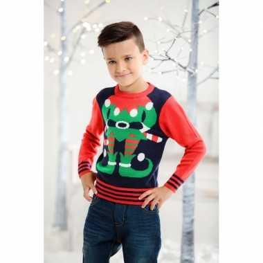 Kersttrui elf rood/blauw voor kinderen