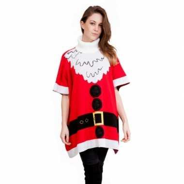 Kersttrui kerstman dames poncho