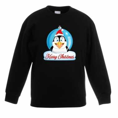 Kersttrui merry christmas pinguin kerstbal zwart kinderen