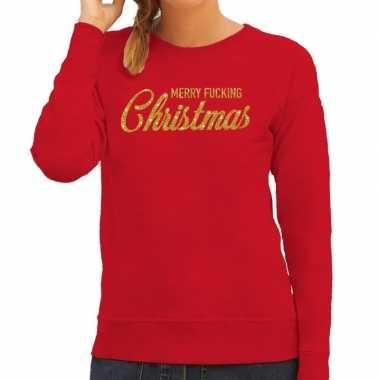 Kersttrui merry fucking christmas goud glitter rood dames