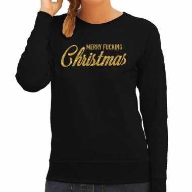 Kersttrui merry fucking christmas goud glitter zwart dames