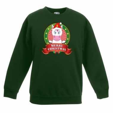 Kersttrui met een eenhoorn groen jongens en meisjes