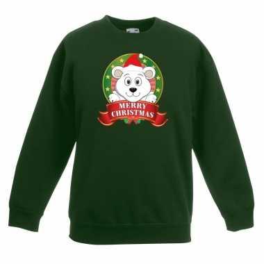 Kersttrui met een ijsbeer groen jongens en meisjes