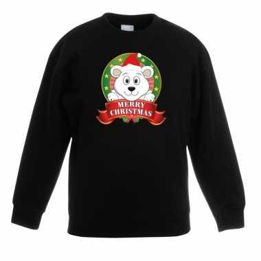 Kersttrui met een ijsbeer zwart jongens en meisjes