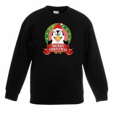 Kersttrui met een pinguin zwart jongens en meisjes
