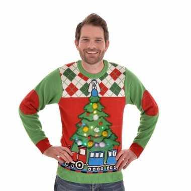 Foute Kersttrui Kopen Dames.Kersttrui Met Licht Tree And Train Voor Vrouwen Kerstkleding Eu