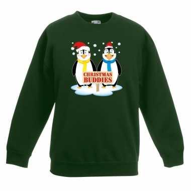 Kersttrui met pinguin vriendjes groen kinderen