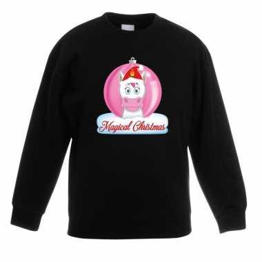 Kersttrui met roze eenhoorn kerstbal zwart voor meisjes