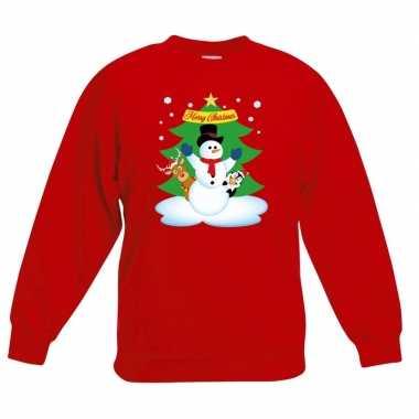 Kersttrui sneeuwpop en vriendjes rood kinderen