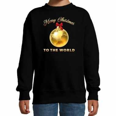 Kersttrui / sweater merry christmas to the world zwart kinderen