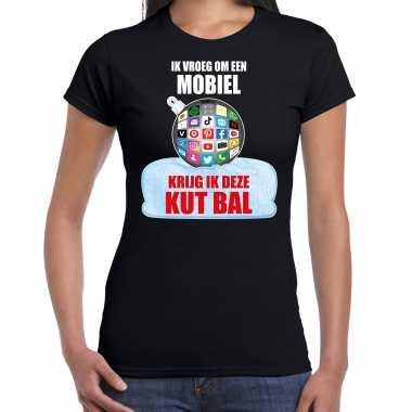 Kut kerstbal shirt / kerstkleding ik vroeg om een mobiel krijg ik deze kut bal zwart voor dames