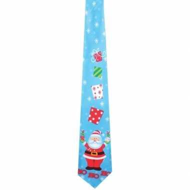 Muzikale kerst stropdas lichtblauw met kerstman print