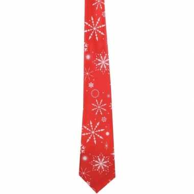Muzikale kerst stropdas rood met sneeuwvlokken print
