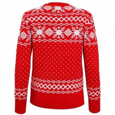 Witte Kersttrui.Rode Dames Kersttrui Nordic Print Kerstkleding Eu