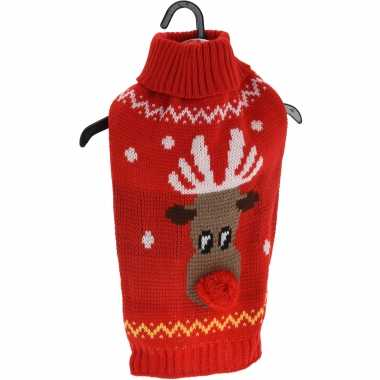 Rode gebreide foute kersttrui met rendier voor huisdieren