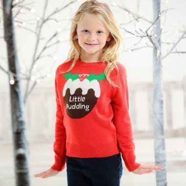 Rode kersttrui voor kinderen little pudding